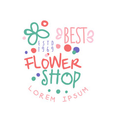 best flower shop logo template estd 1969 label vector image