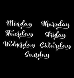 big calligraphic set days week monday vector image