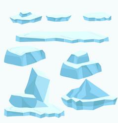 Blue ice floe set vector