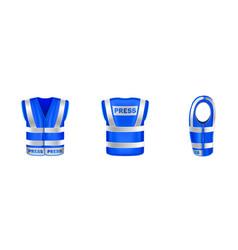 Blue safety vest for press with reflective stripes vector