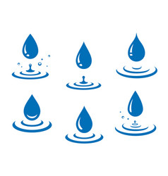 blue water drops icons set and splash vector image