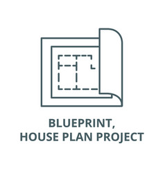 blueprinthouse plan project line icon vector image