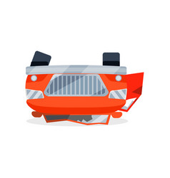 bright red car lies on its roof after crash vector image