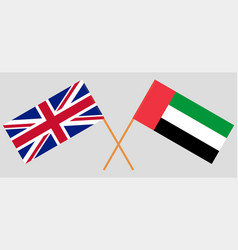 British and united arab emirates flags vector