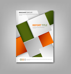 Brochures book or flyer with abstract orange green vector image