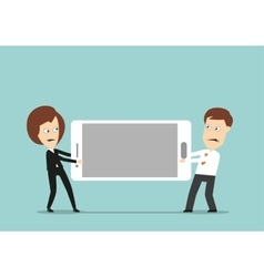 Business colleagues fighting over smartphone vector image vector image