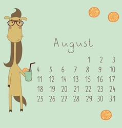 Calendar for August 2014 vector image