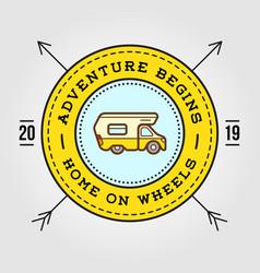 camper car logo design template home on wheels vector image