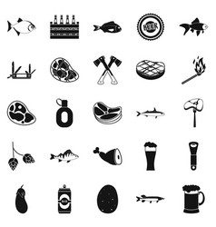 Camping icons set simple style vector