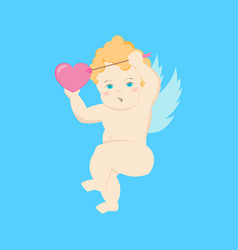 cartoon character cupid on a blue vector image
