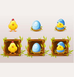 cartoon isolated blue eggs and chicken in square vector image