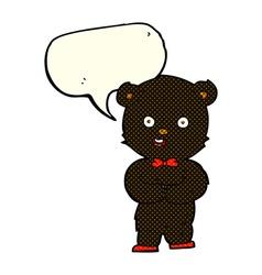 cartoon teddy black bear with speech bubble vector image