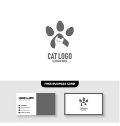 Cat logo template free business card vector