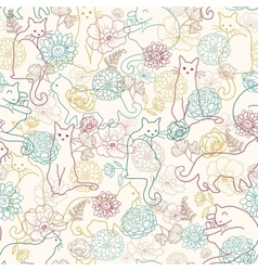 Cats among flowers seamless pattern background vector