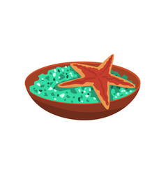 Ceramic bowl with green salt and marine starfish vector
