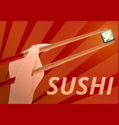 Chopsticks concept banner cartoon style vector