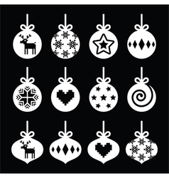 Christmas ball bauble white icons vector