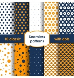 Classic orange blue seamless patterns with dots vector image