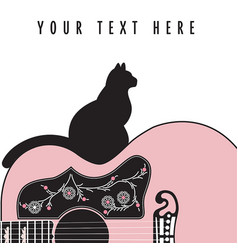 creative abstract guitar background with cat vector image
