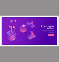 Cryptocurrency exchange and blockchain isometric vector