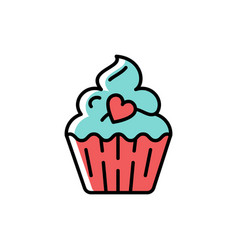 cupcake icon symbol of holiday and love vector image