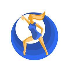 Dancer and blue circles vector