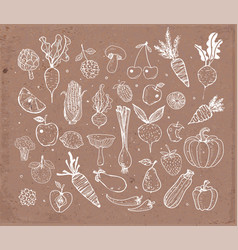Doodle fruits and vegetables on brown parcel paper vector