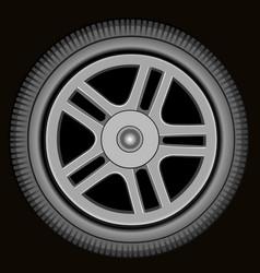 Drawn automotive grey wheel with alloy wheel vector