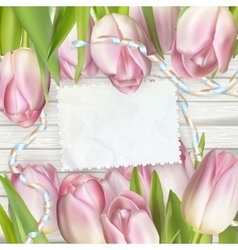 Empty note paper and tulip flowers EPS 10 vector image