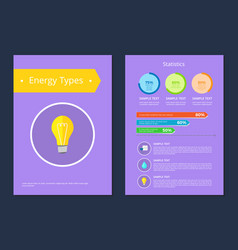 energy types statistics sample text colorful card vector image