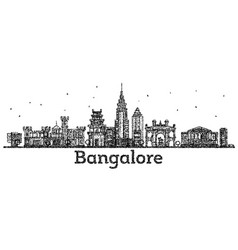 engraved bangalore india city skyline with black vector image