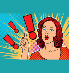 Exclamation point and surprised pop art woman vector