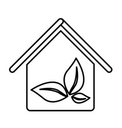 figure house with leaves inside icon vector image