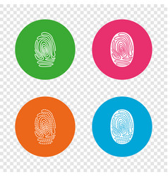 fingerprint icons identification signs vector image