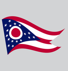 flag of ohio waving on gray background vector image