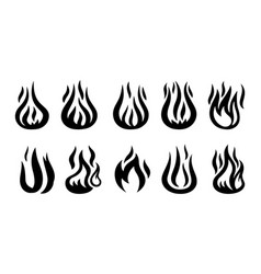 Flame black silhouettes vector