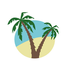 flat icon with palm trees vector image