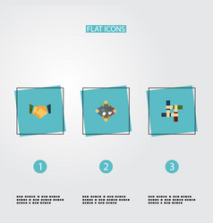 flat icons agreement discussion support and vector image