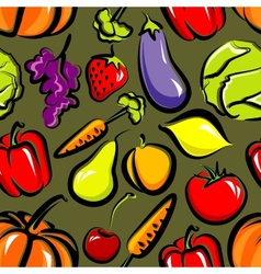 food background with fruit and vegetables seamless vector image
