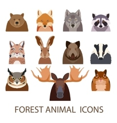 Forest animal flat icons vector