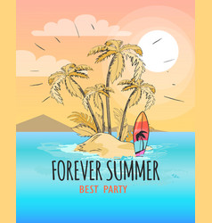 forever summer poster depicting small island vector image