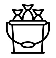 Full fish bucket icon outline style vector