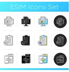 Full-service telehealth platform icons set vector