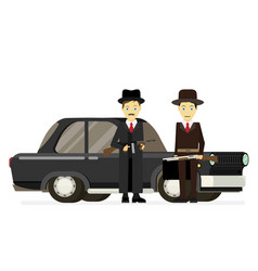 Gangsters with old car flat vector