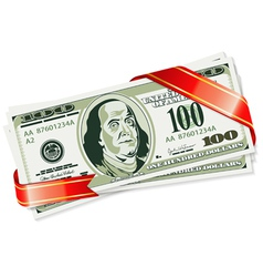 Gift of dollar bills vector