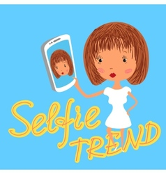 Girl is taking selfie Handdrawn on blue background vector image vector image