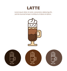 Glass of hot latte macchiato coffee close up vector
