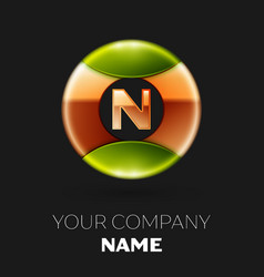 golden letter n logo symbol in golden-green circle vector image