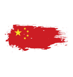 Grunge brush stroke with china national flag vector