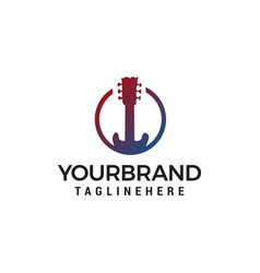 guitar logo design concept template vector image